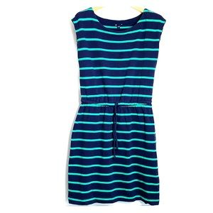 GAP • Cotton Striped Navy Green Easy Dress